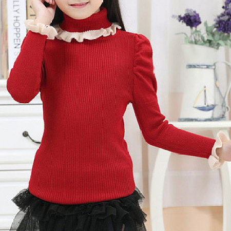 Ruffle Puff Sleeve Trim Turtleneck Knit Sweater