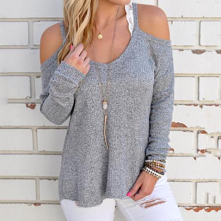 Open Shoulder Long Sleeve Pullover