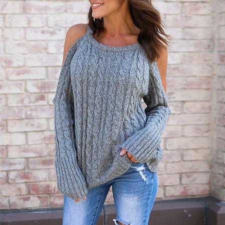 Open Shoulder Knitted Jumper