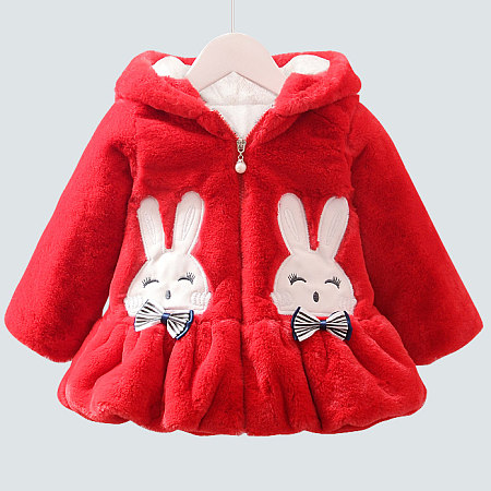 Thickened Plush Bowknot Decorated Bunny Pattern Outerwear