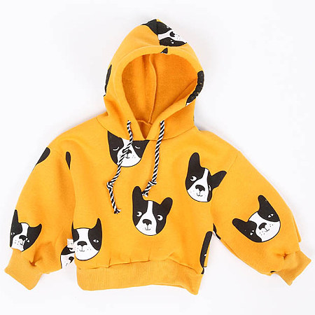 Thickened Cartoon Dog Prints Drawstring Hooded Sweatshirt