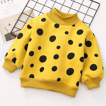Thickened Polka Dots High Neck Sweatshirt