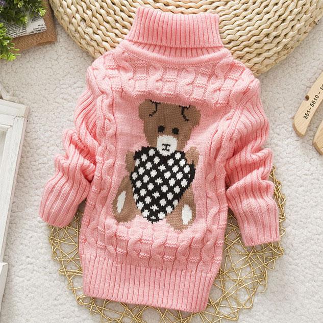 Knitted Cartoon Bear Pattern Roll Neck Sweater