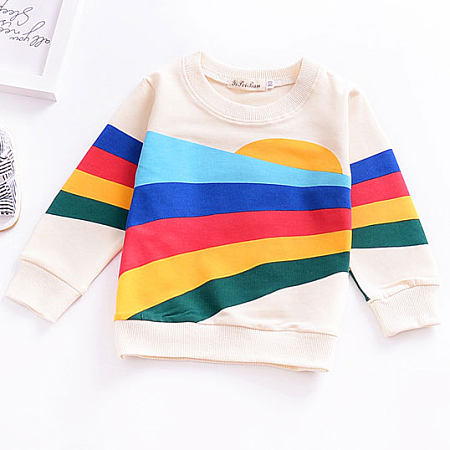 Colorful Stripes Pattern Round Neck Sweatshirt