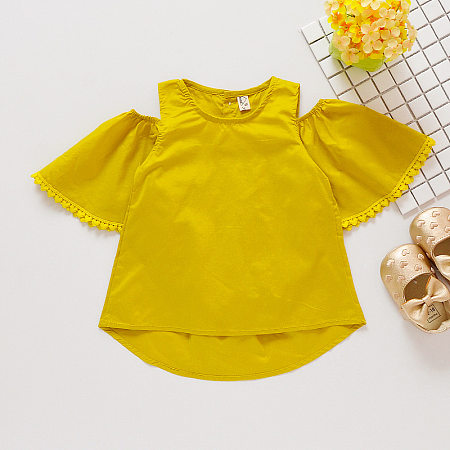 Solid Color Cold Shoulder Blouse, yellow, TL18032824