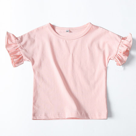 Solid Color Ruffle Trim T-Shirt