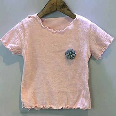 Flower Decorated Round Neck T-Shirt