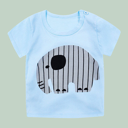Contrast Stripes Cartoon Elephant Pattern T-Shirt