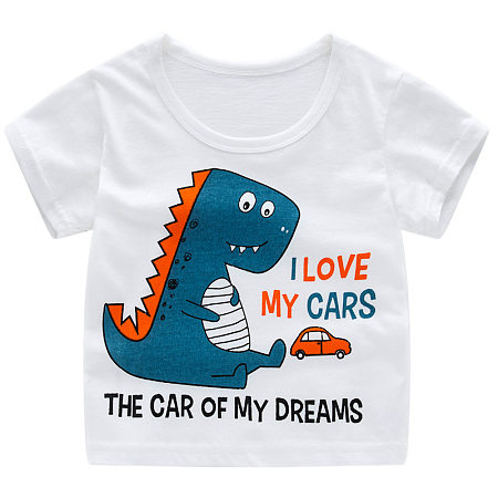 Buy Cartoon Dinosaur Letters Pattern T-Shirt, white, TL18050707 for $6.86 in Popreal store