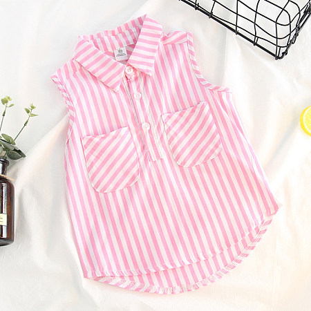 Contrast Stripes Turn-Down Collar Asymmetrical Shirt