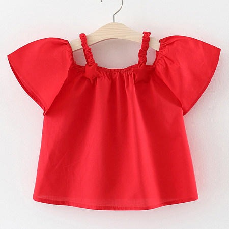 Solid Color Star Decorated Cold Shoulder Blouse, red, TL18051603