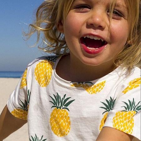 Pineapple Prints Round Neck T-Shirt