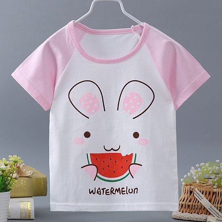 Cartoon Animals Letters Pattern Color Block T-Shirt
