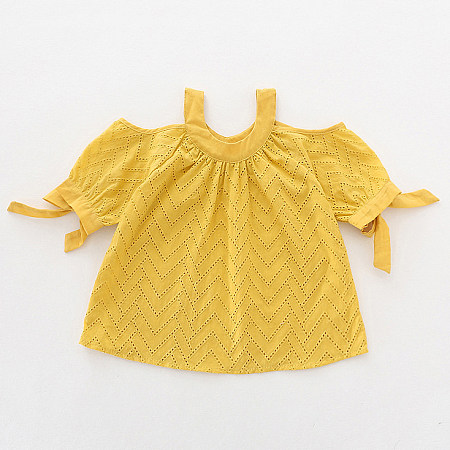 Buy Hollowed Bowknot Decorated Cold Shoulder Blouse, yellow, TL18052904 for $15.08 in Popreal store