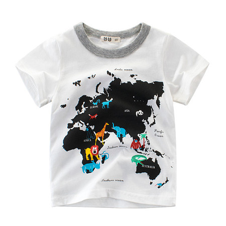 Animals Map Letters Pattern T-Shirt