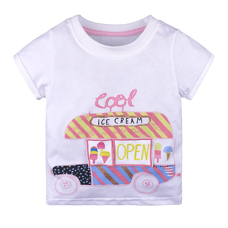 Cartoon Ice Cream Car Letters Pattern T-Shirt