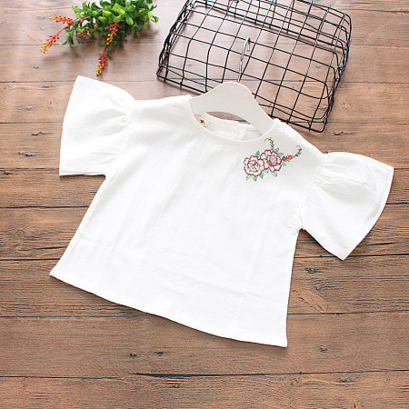 Botanical Embroidered Trumpet Sleeve Blouse