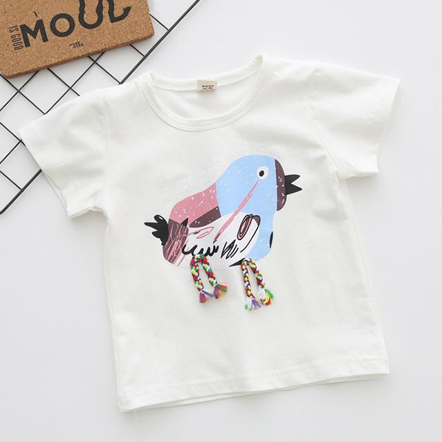 Cartoon Bird Letters Pattern T-Shirt