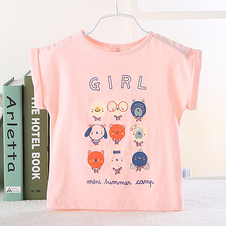Cartoon Animals Letters Pattern T-Shirt