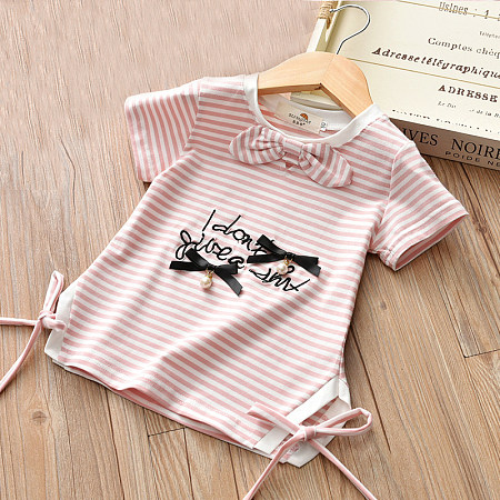Stripes Beads Bowknot Decorated Letters Pattern Tops
