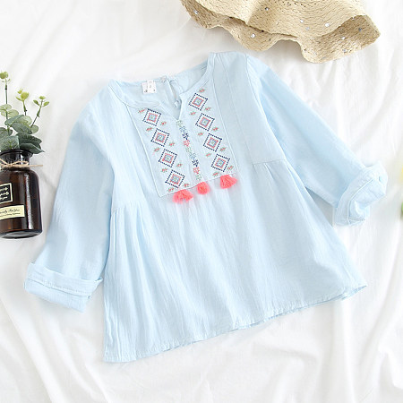 Oriental Style Tassel Decorated Blouse