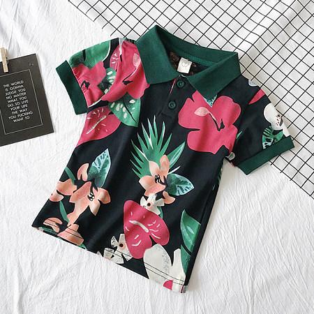Botanical Prints Turn-Down Collar T-Shirts