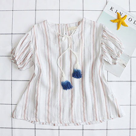 Stripes Self Tie Tassel Decorated Blouse