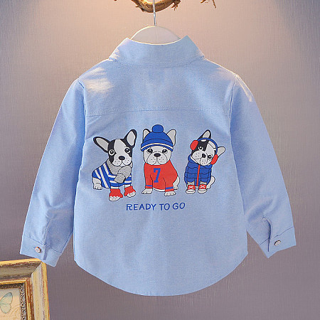 Cartoon Dog Pattern Turn-Down Collar Shirts