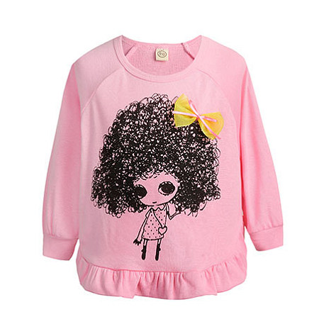 Bowknot Decorated Cartoon Character Pattern Tops