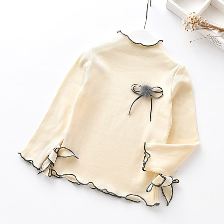 Buy Pompon Bowknot Decorated Tops, beige, TL18080412 for $7.92 in Popreal store