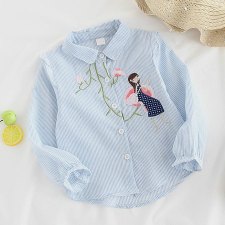 Cartoon Character Botanical Embroidered Shirts