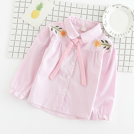 Botanical Embroidered Self Tie Shirts
