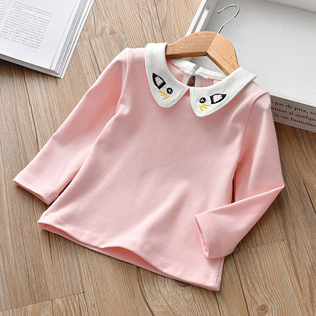 Cartoon Cat Embroidered Doll Collar Blouse