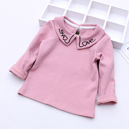 Letters Embroidered Doll Collar Blouse