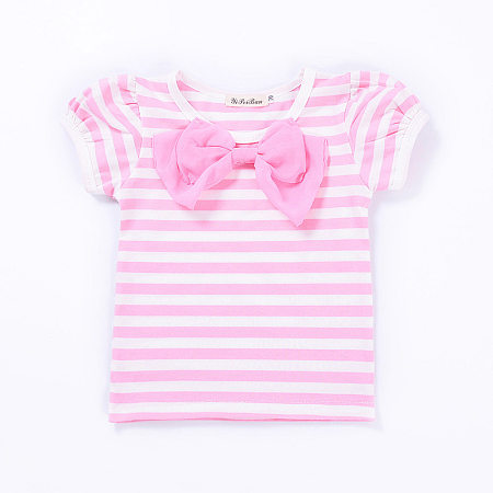 Sweet Girls Stripes Bowknot Tops