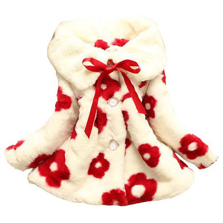 Flower Decorated Plush Outerwear