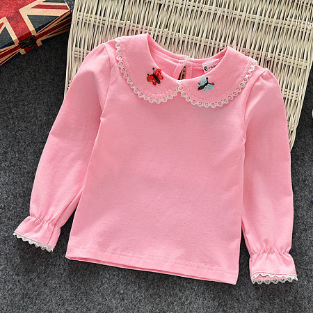 Doll Collar Butterfly Embroidered Tee