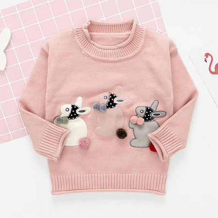 Bunny Applique Long Sleeve Sweater