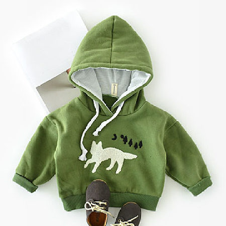 Cat Pattern Drawstring Solid Color Hoodie