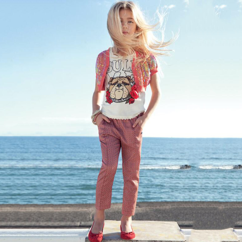 Letter And Animal Pattern Round Neck Top