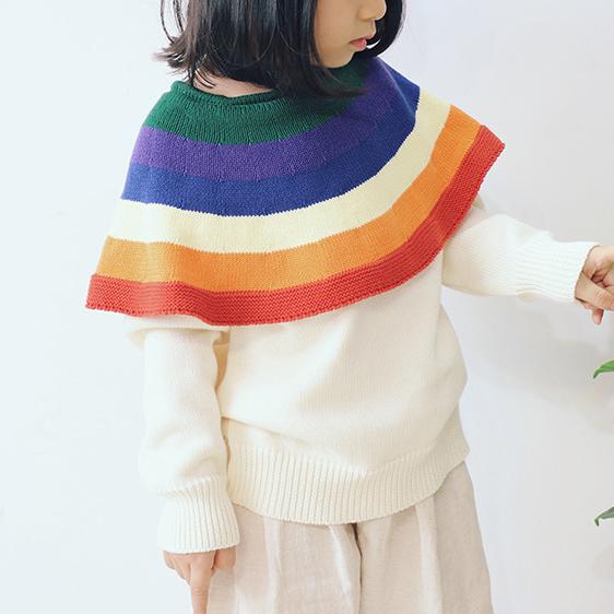 Rainbow Stripe Keyhole Back Cloak Sweater