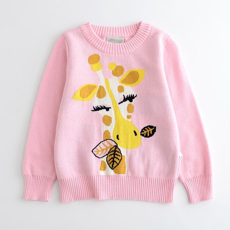 Cartoon Giraffe Pattern Knit Sweater
