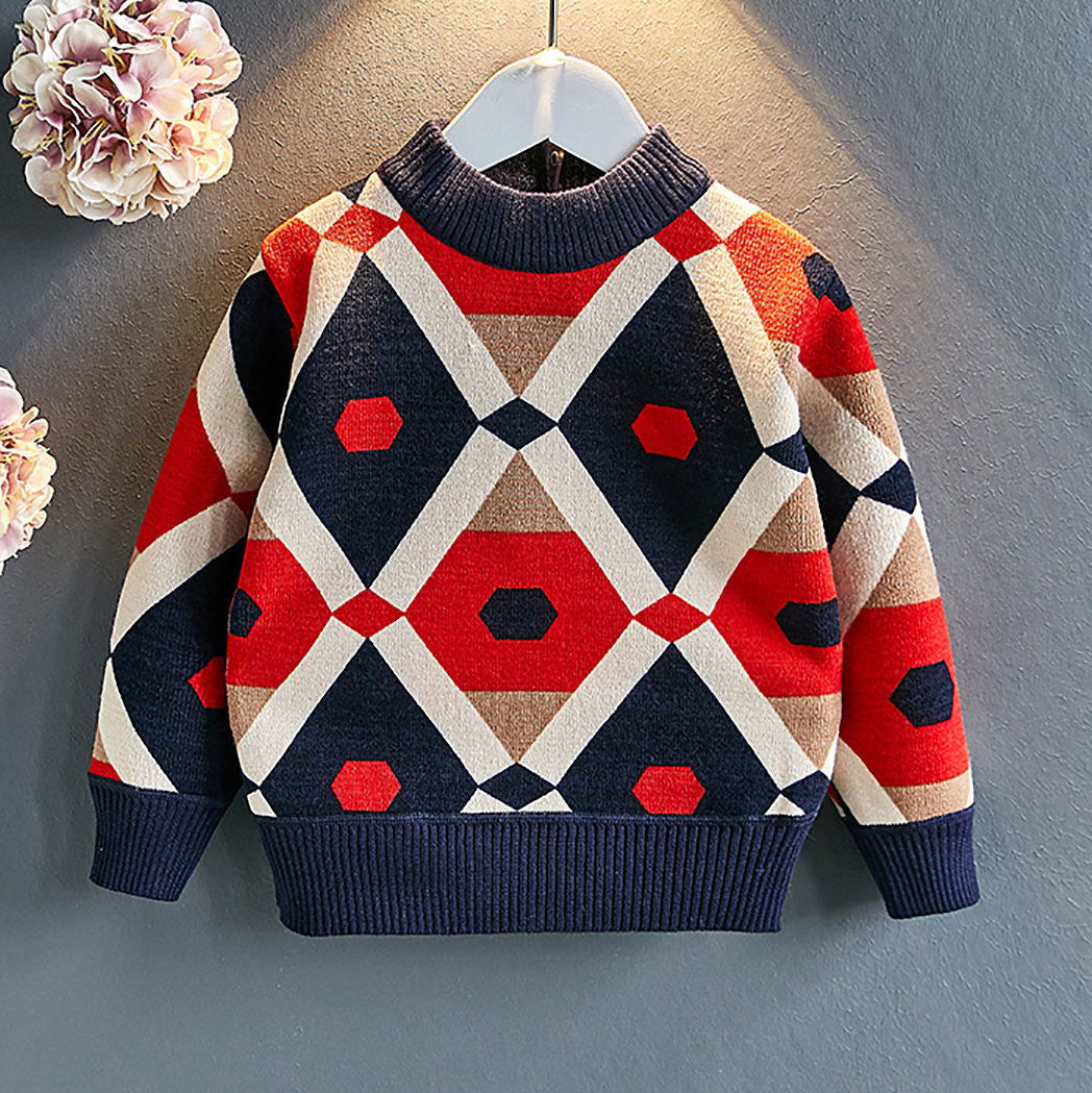 Geometric Pattern Crewneck Sweater