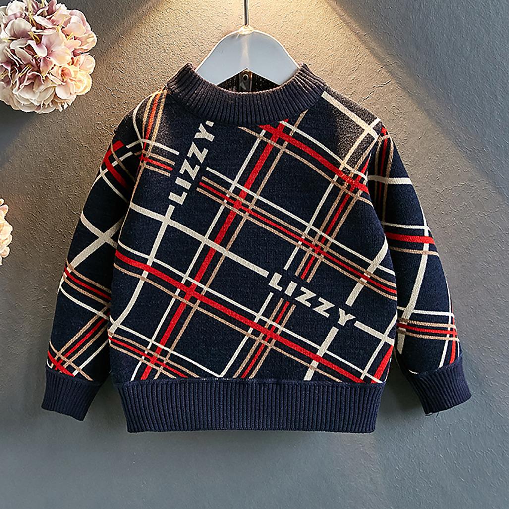 Plaid Crewneck Thickened Sweater