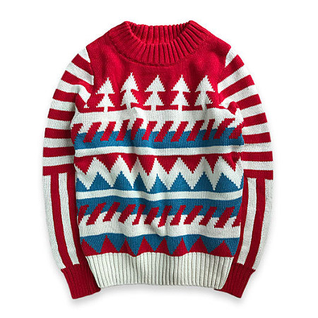 Knitted Christmas Tree Pattern Sweater