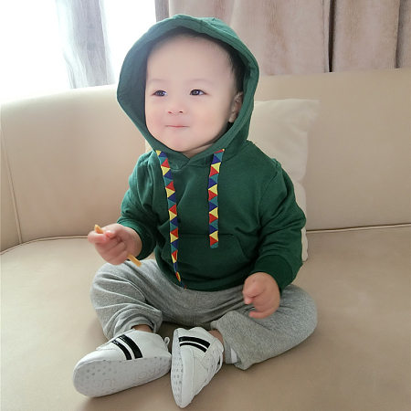 Cotton Solid Color Hooded Sweatshirt With Drawstring