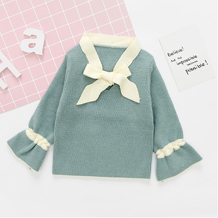 Knitted Bowknot Collar Trumpet Sleeve Blouse