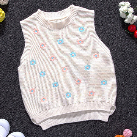 Knitted Small Flower Pattern Vest