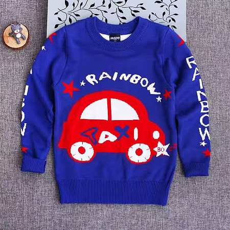 Knitted Cartoon Taxi Pattern Sweater
