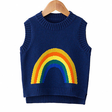Knitted Round Neck Rainbow Pattern Vest